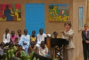 U.S. first lady Laura Bush gestures during a visit to Grand Medine Primary School in Dakar, Senegal. Bush on Tuesday started a four-nation Africa tour that is expected to focus on how the United States can help fight AIDS on a continent where many countries struggle to even provide basic health care.