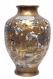 This Satsuma vase, made between 1850 and 1900, sold for $2,990 at a Cyr auction in Gray, Maine. It is 18 inches tall and pictures a group of Japanese warriors.