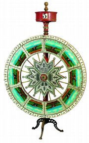 Spin the wheel, win a prize in the 1900s. Today the wheel is the prize. This Wheel of Chance sold for $2,468 at a Skinner auction in Boston.