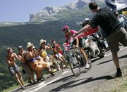 Linus Gerdemann of Germany climbs the Colombiere pass during the seventh stage of the Tour de France. Gerdemann won the stage Saturday between Bourg-en-Bresse and Le Grand Bornand in the French Alps.