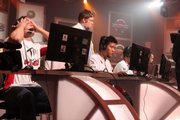 "Josh ""Dominator"" Sievers, far left, of the Dallas Venom, reacts when his team loses a round in a Counter-Strike match during the Championship Gaming Series July 9 in Los Angeles in this photo released by CGS. Counter-Strike was one of four video games played during the premiere live broadcast of the CGS on DirecTV, the first ever global professional gaming league."
