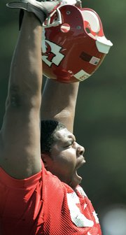 """Kansas City rookie defensive tackle DeMarcus """"Tank"""" Tyler  yawns. The Chiefs opened training camp Friday in River Falls, Wis."""