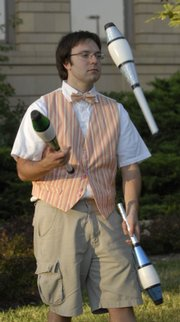 Bradley Barger, member of KU's Juggling Club, performs at Beach 'n' Boulevard, part of Traditions Week 2006.