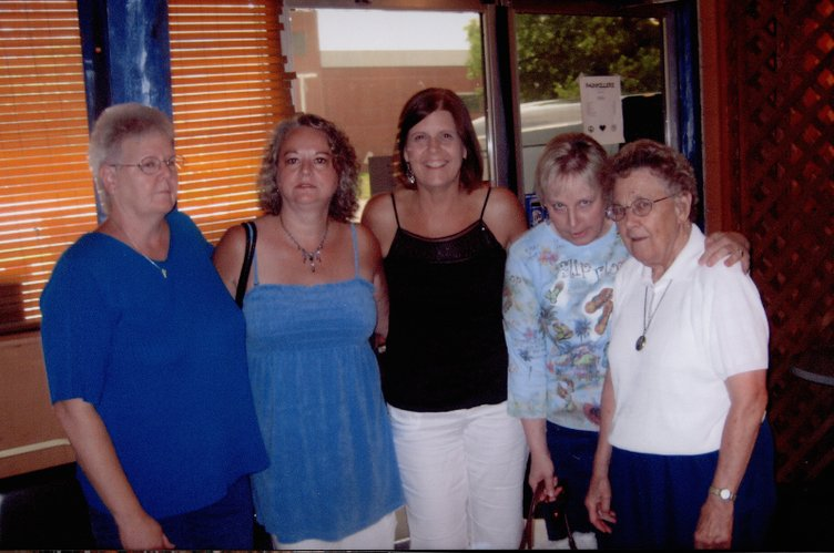 From left are Gaylene Bartlett Beatty, Janice Cates Johnson, Joyce Webb, Terri Redding Evinger and Mary Gauthier. The friends have gathered monthly since 1978. Gauthier was a teacher at Lawrence High School, and the other women were her students. They were together for Beatty's 20th wedding anniversary celebration June 16, 2007.