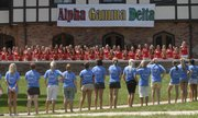 Kansas University's Alpha Gamma Delta sorority members, in red, sing a song to prospective freshman greek recruits in this August 2007 file photo during recruitment week.