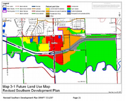 This map of proposed development in southern Lawrence would designate much of the area around the Wakarusa River as open space within the 100-year floodplain. It also envisions commercial areas along U.S. Highway 59, south of 31st Street; low- and medium-density residential developments would fill in much of the rest of the space between 31st Street and the Wakarusa River.