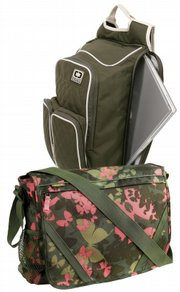 Ogio laptop backpack displayed above a Gap butterfly messenger bag.