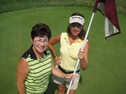 Denise Desilet, left, of Wichita and Penny Hickman, of Council Grove, were the overall gross winners of the KWGA Tee-Fore-Two tournament. The three-day event concluded Thursday at Lawrence Country Club.