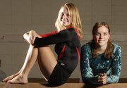 Lawrence High's Mallory West, left, and Free State's Amelia Firns-Hubert are being counted on to lead their gymnastics teams this season.