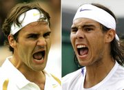 Roger Federer, left, and Rafael Nadal react during the men's final at Wimbledon in this file phot from July 8. Chances are good the two could meet again in the finals of this year's U.S. Open.