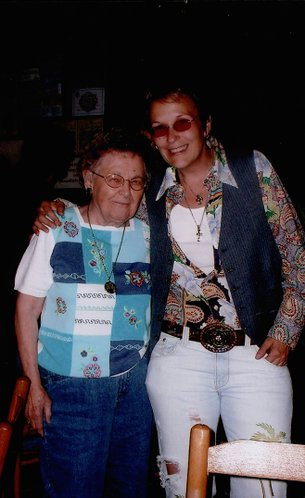 Mary Gauthier, left, a retired Lawrence High School business teacher, reunites in 2007 with an Americana singer of the same name, Mary Gauthier, at a Bluebird Cafe performance in Nashville, Tenn. They met two years ago when the artist appeared in Lawrence.