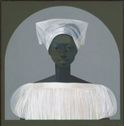 """Asefi,"" by Haitian artist Bernard Sejourne, is part of the   collection of Harry and Mary Lou Hughes, of Lawrence. The painting&squot;s title means ""enough girls"" and signals that its subject is destined for a convent or training as a voodoo priestess."