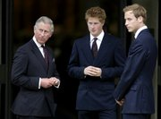 From left, Princes Charles, Harry and William arrive Friday for the memorial service for Diana, Princess of Wales, at the Guards' Chapel in central London. Princess Diana's family solemnly marked the 10th anniversary of her death Friday at a service organized by her sons.