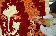 German artist Frank Reich attaches the last few blossoms to a portrait made of roses of the late Lady Diana, Princess of Wales, Friday at the rose garden Rosarium in the town of Sangerhausen, Germany. The portrait of the 'Queen of Hearts' was made from 5,670 rose blossoms on the 10th anniversary of Diana's death.