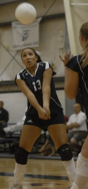 Seabury Academy's Jamie Fischer prepares to bump. The Seahawks dropped a pair of matches Thursday at Seabury.