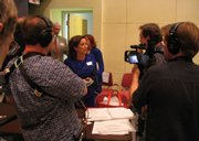 "The ""Kansas vs. Darwin"" crew interviews school board member Connie Morris at the hearings on evolution in Topeka in 2005."