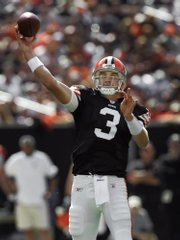 Cleveland quarterback Derek Anderson throws one of his five touchdown passes. The Browns edged the Bengals in a shootout, 51-45, Sunday in Cleveland.