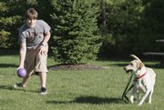 Dan Meter, 14, plays with his dog, Missy, on Friday in Strongs-ville, Ohio. Dan had a heart attack in March 2006, but it took a month to see a specialist who confirmed the diagnosis. A report from Ohio doctors documenting nine cases over 11 years in children as young as 12 says heart attacks in children are a rare but under-recognized problem.