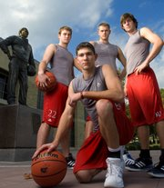 Newbies, from left, Chase Buford, Tyrel Reed, Cole Aldrich and Conner  Teahan, will make their basketball debuts at Late Night in the Phog, October 12, 2007.