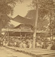 This view of the First National Temperance Camp meeting held in 1878 at Bismarck Grove near Lawrence is among the historical photographs available on the new Web site Kansas Memory (www.kansasmemory.org). The online resource features a portion of the images and manuscripts archived in the Kansas State Historical Society's collection.
