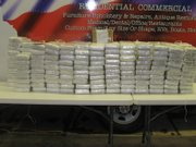 Cocaine is stacked after a traffic stop turned into a drug bust of 500 pounds of the drug in Franklin County.