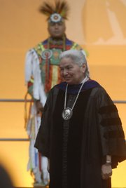 Haskell Indian Nations University inaugurates Linda Warner as its fifth president during a ceremony on October 19, 2007. Warner says she has big ideas for the university.