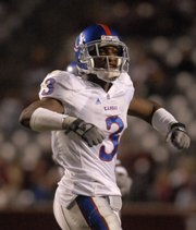 Kansas cornerback Aqib Talib signals to pump up the crowd as time dwindles against Texas A&M Saturday, Oct. 27, 2007 at Kyle Field in College Station, Texas.