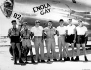 In this undated handout photo from the U.S.Army Air Force, the ground crew of the Enola Gay B-29 bomber, which bombed Hiroshima on Aug. 6, 1945, stands with pilot Col. Paul W. Tibbets, center, in the Marianas Islands. Tibbets died Thursday at his Columbus, Ohio, home. He was 92.