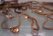 Leila's Hair Museum contains more than 2,000 pieces of hairwork jewelry including these bracelets made from hair.