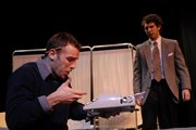 John Volk, left, and Jakob Wozniak rehearse a scene from &quot;Lights Fade, Curtain,&quot; a one-act play by Kansas University junior Whitney Rowland. English Alternative Theatre will perform Rowland&#39;s play and KU senior Adam Lott&#39;s &quot;Please Take ...Seriously&quot; this weekend at the Lawrence Arts Center, 940 N.H. 