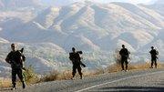 Turkish soldiers patrol in Sirnak province, on the Turkish-Iraqi border, in southeastern Turkey. Kurdish rebels on Sunday freed eight Turkish soldiers who were captured in an ambush last month.