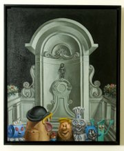 "Mr. Potato Head, Barney Rubble, Gumby and their cartoon friends gather for a group portrait in front of a classical statue in this painting from Constance Ehrlich&squot;s Vacation Series. ""I think of them as people, with their personalities and everything,"" she says."