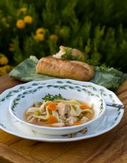 Combine extra turkey and vegetables with leftover or canned broth to make soup.