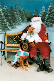 Dogs Porterhouse and Moe have their photo taken with Santa as part of the Lawrence Humane Society's Santa Paws event, a shelter benefit. This 2006 photo was submitted by Meryl Carver-Allmond. This year's Santa Paws photos will be taken 11 a.m.-4 p.m. today and Dec. 2 at the Humane Society, 1805 E. 19th St.