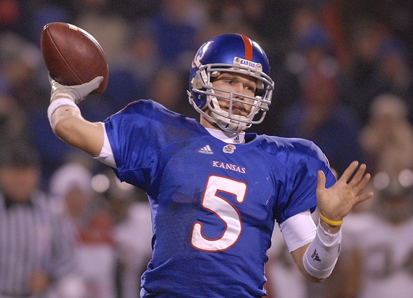 Kansas quarterback Todd Reesing pulls back to fire a pass during the second half of the Border War Saturday, Nov. 24, 2007 at Arrowhead Stadium in Kansas City, Mo.