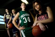 High school basketball players, from left, Veritas Christian's Kristie Tiegreen, Seabury Academy's Bria Phipps, Free State's Sarah Craft and Lawrence High's Danielle Bird are being counted on to lead their teams in the 2007-08 season, which will tip off this weekend.