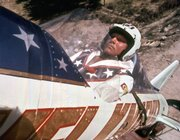 Evel Knievel is shown in his rocket on Sept. 8, 1974, before his failed attempt at a highly promoted 3/4-mile leap across Snake River Canyon in Idaho. Knievel died Friday. He was 69.