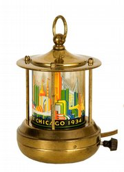 This 5-1/2-inch-tall brass lamp shows a picture of the 1933 Chicago World's Fair. Nearly 75 years after the fair, it sold at a Hake's Americana auction in York, Pa., for $316.