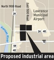 The site for the proposed industrial park is at the northwest corner of East 900 Road and North 1800 Road, also known as the Farmers Turnpike.