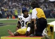 Pittsburgh Steelers running back Willie Parker is taken off the field on a cart after breaking a bone in his lower right leg. The Steelers beat the Rams, 41-24, Thursday in St. Louis.