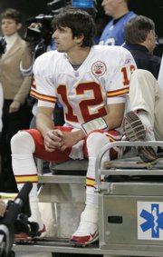 Kansas City quarterback Brodie Croyle leaves the field after injuring his right hand. Croyle was knocked out in the second quarter of the Chiefs' 25-20 loss Sunday at Detroit.