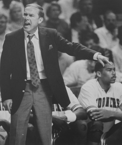 Richard Gwin/Journal-World Photo.  Oklahoma coach Billy Tubbs screams up a storm during his team's 83-79 loss in the 1988 NCAA Championship game on April 4 in Kansas City, Mo.