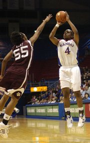 KU sophomore Danielle McCray (4) shoots a jump shot Saturday, Jan. 26, 2008 during the Jayhawks' home basketball game against Texas A&M.