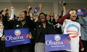 Supporters for Democratic presidential hopeful Sen. Barack Obama, D-Ill., celebrate his win Saturday in the South Carolina primary in Columbia, S.C