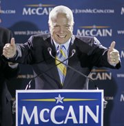 Republican presidential hopeful Sen. John McCain, R-Ariz., gives two thumbs up at his primary victory celebration in Miami. McCain is expected to pick up the endorsement of former New York Mayor Rudy Giuliani, who finished third in Florida on Tuesday.