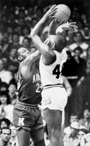 Danny Manning, everybody&#39;s All-American, blocks a shot against Kansas State.