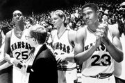 From left, KU&#39;s Danny Manning, team manager Bill Pope, Chris Piper and Archie Marshall celebrate a victory from the bench.