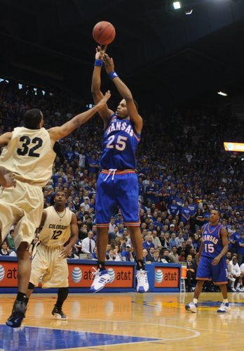 Kansas guard Brandon Rush puts up a jumper over Colorado forward Marcus King-Stockton during the first half Saturday, Feb. 16, 2008 at Allen Fieldhouse.
