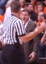 Kansas University coach Bill Self has words with an official during a victory at Oklahoma State in 2006. Self's Jayhawks won in Gallagher-Iba Arena in '06 but lost in 2004.