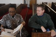 Joyce Pearson, left, and Kim Manz, of Plymouth Congregational Church, talk about the upcoming musical during Bible study and choir practice at the St. Luke African Methodist Episcopal Church, 900 N.Y. Plymouth Congregational is one of several groups participating in Sunday's celebration.